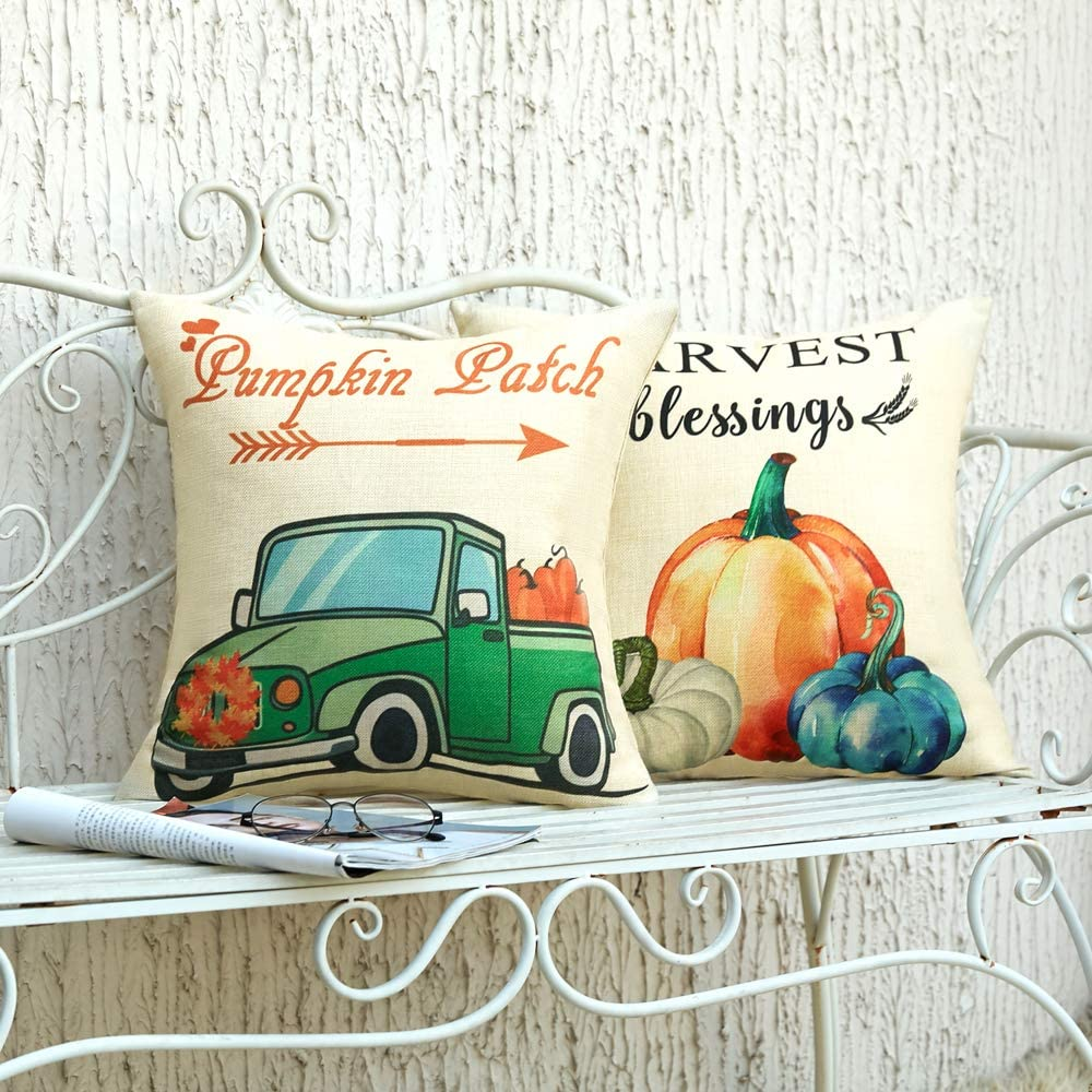 Anickal Fall Pillow Covers 18x18 Inch for Fall Decor Set of 4 Autumn Harvest Pum