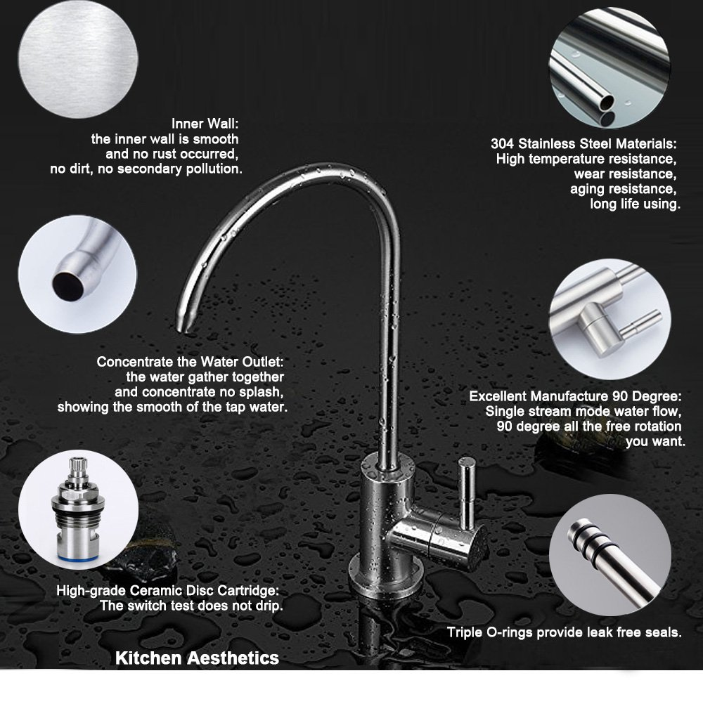 ESOW Kitchen Water Filter Faucet, 100% Lead-Free Drinking Water ...