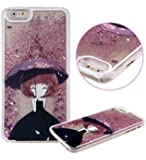 KC iPhone 6/6s - Fairy Angel Girl Holding Umbrella Liquid 3D Bling Glitter Stars Floating Sparkle Transparent Hard Back Cover for iPhone 6 & iPhone 6s - Rose Gold