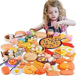 qwepoi Food Toy Set,Play Food Set,Kitchen Cutting Toys,Kids Kitchen Accessories Set,84 pcs.