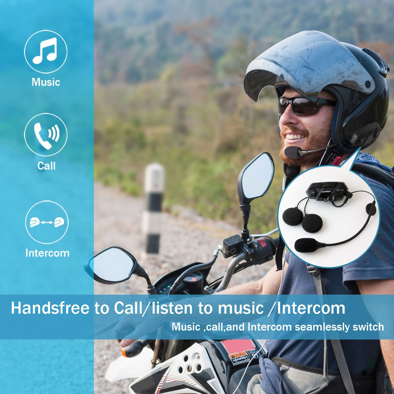 Motorcycle Bluetooth 4.1 Helmet Headset and Intercom Communication Systems Kit, Supports 8 riders group intercom, Handsfree Calls Voice Command 12hrs with Speakers headphones for Motorbike Skiing by BIBENE (Image #3)