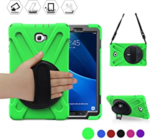 BRAECN Samsung Galaxy Tab A 10.1'' Case 2016,Full-Body Shock-Proof Three Layer Heavy Duty Rugged Kids Friendly Case with Stand/Hand Strap for Galaxy SM-T580/T585 Tablet [No S Pen Version] Green