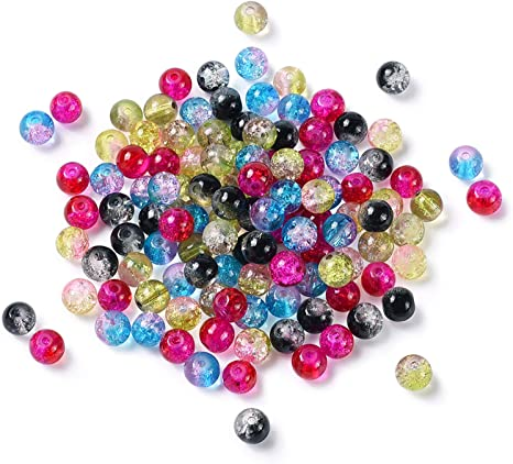 GLASS BEADS COLOURS 100 X 8mm FOR JEWELLERY  AND MAKING CRAFTS CRACKLE MIXED