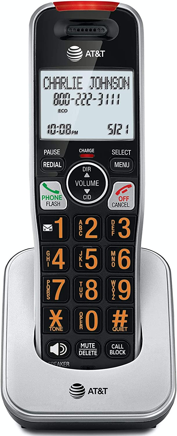 Silver//Black BL102-0 AT/&T Accessory Handset with Unsurpassed Range and Smart Call Blocker