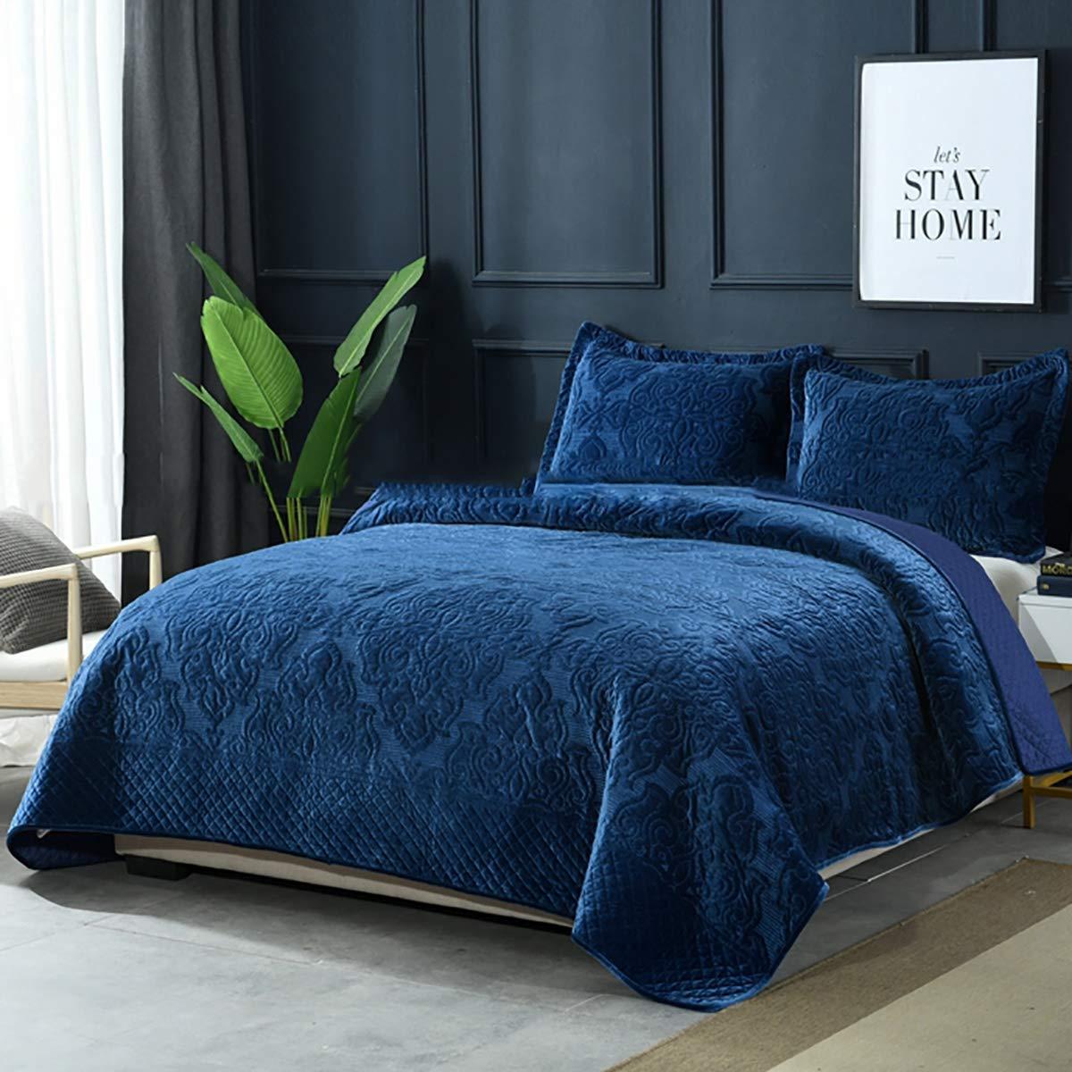 Blue 230 * 250cm WDXN Motif matelass/é Couvre-lit matelass/é brod/é Lavable en Tissu Haute densit/é Confortable et Doux Couvre-lit matelass/é 2 taies doreiller