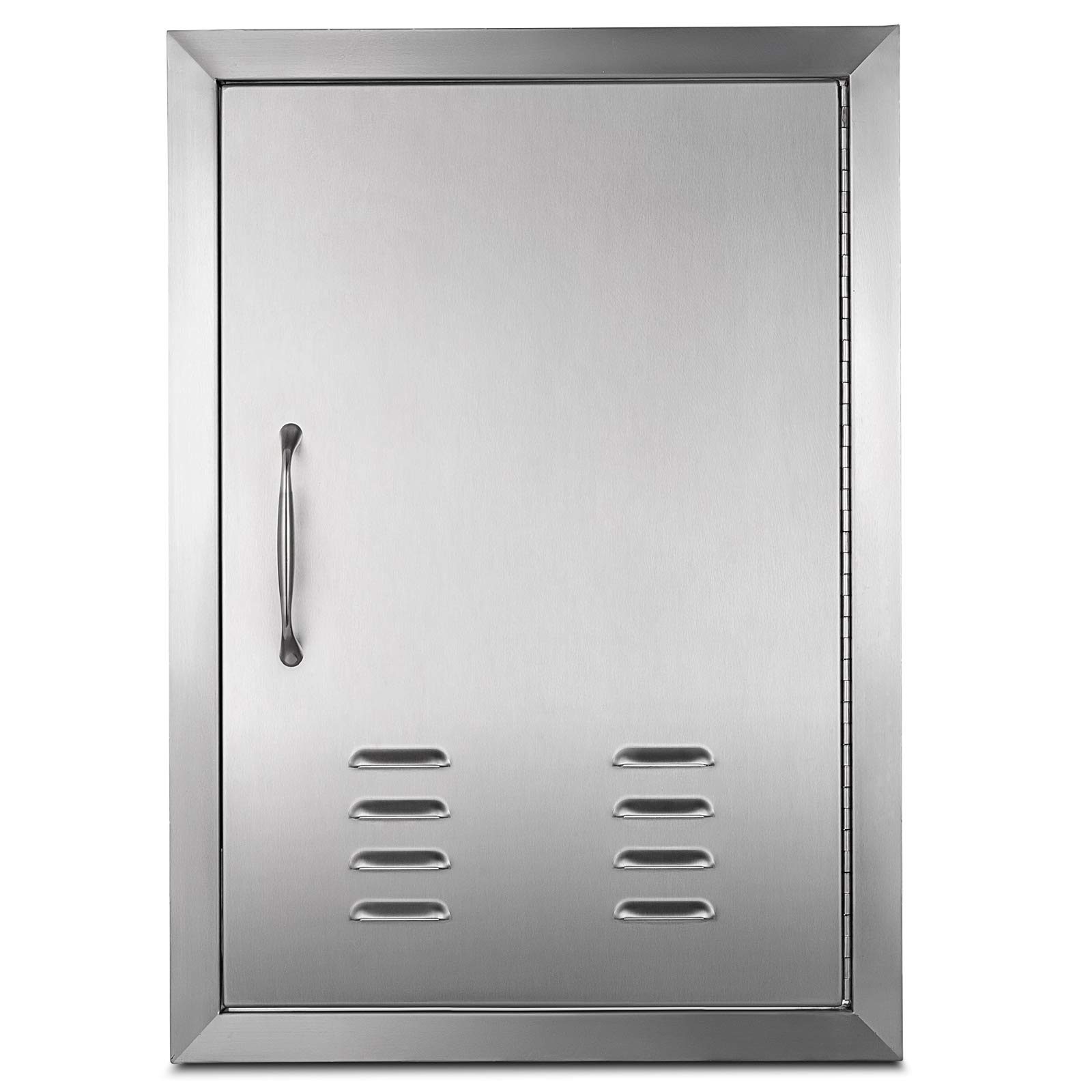 Happybuy BBQ Access door 17 x 24 Inch Vertical Island Door with Vents Stainless Steel Single Access Door Flush Mount for Outdoor Kitchen (17 x 24 Inch Vertical Island Door with vents)