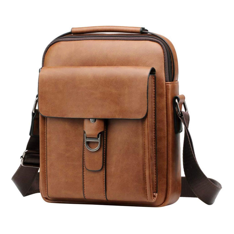 Nianchu Mens Gentleman Business Shoulder Bag Top Quality Male Messenger Bags Solid Color Crossbody Bags Casual Handbag