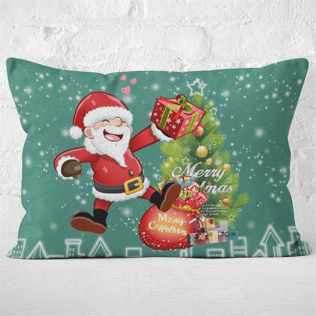 Rhap Pillowcases Standard Size, Green Cartoon Christmas Printed Pillow Cover Standard Size, Set of 2 Pieces Kids Bedding Christmas Decor