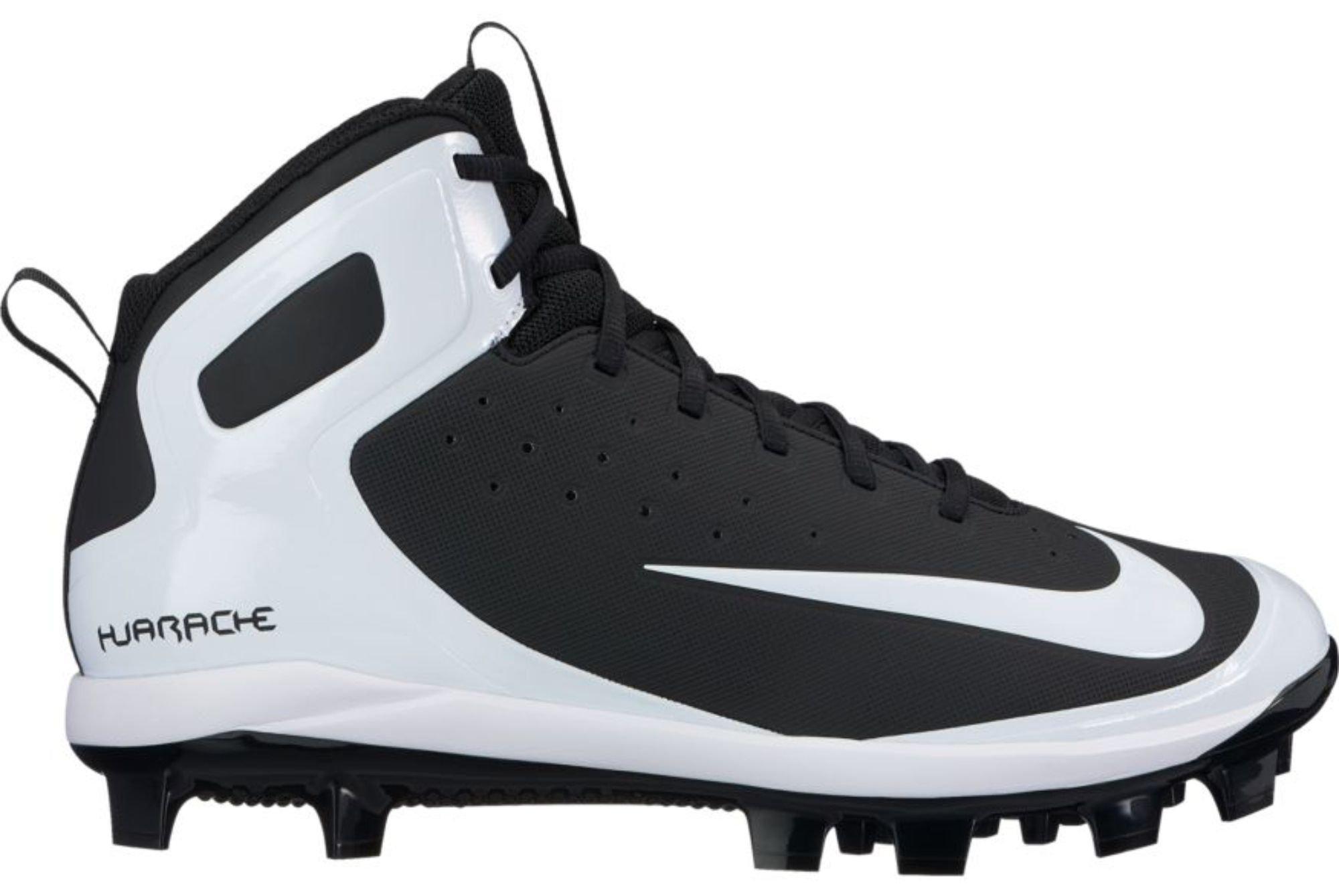 Nike Men's Alpha Huarache Pro Mid Baseball Cleats (7, Black) by Nike
