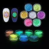 Elite99 Glow In Dark Luminescent Fluorescent Powder Nail Art Diy Decoration 7 Colors Box