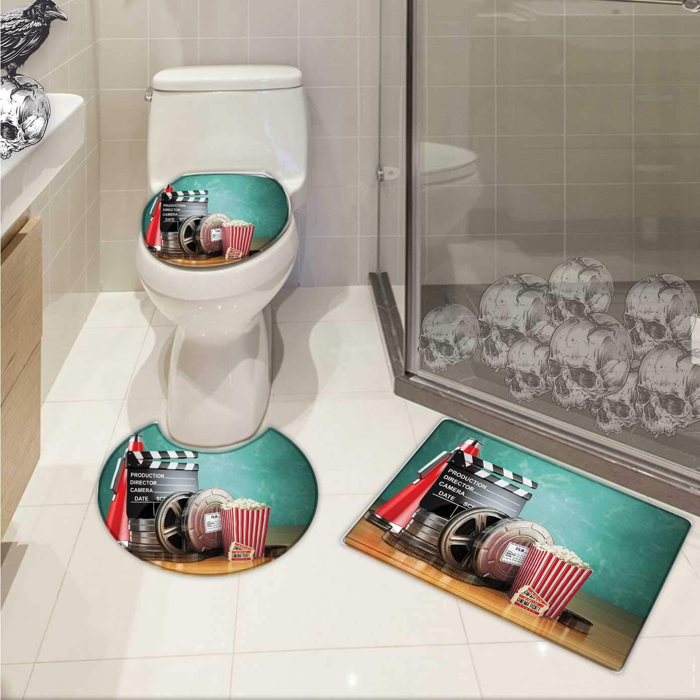 Carl Morris Movie Theater 3 piece toilet mat set Production Theme 3D Film Reels Clapperboard Tickets Popcorn and Megaphone 3 Piece Shower Mat set Multicolor by Carl Morris