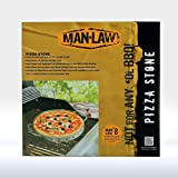 Man Law BBQ Products PS2 Series Ceramic Pizza Stone with Stainless Steel Frame, One Size, Tan