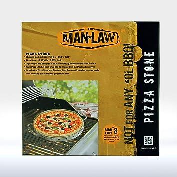 Hombre ley barbacoa productos man-ps2 serie de cerámica para Pizza con marco de acero inoxidable, un tamaño, acero inoxidable y marrón: Amazon.es: Jardín