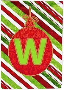 Caroline's Treasures CJ1039-W-GF Christmas Oranment Holiday Letter W Monogram Initial Flag Garden Size CJ1039, Small, Multicolor