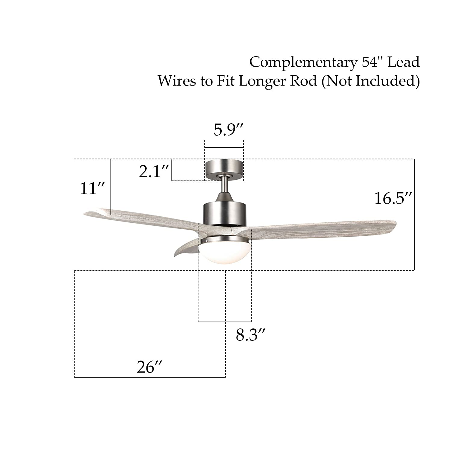 Co Z 52 Ceiling Fan Light Brushed Nickel Finish With 3 Weathered Wiring 2 Fans In Series White Walnut Blades 15w Led And Remote Control Included Ul Certificate