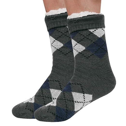 Mens Fuzzy Socks Winter Thermal Cozy Warm Indoor Non Skid Knit