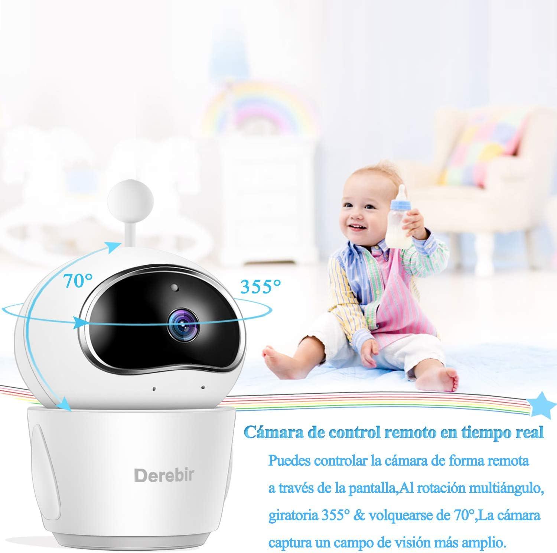baby monitor ZEEPIN Monitor para beb/é con c/ámara pantalla LCD de 5 Intercom, Visi/ón Nocturna, Sensor de temperatura, Lullabies