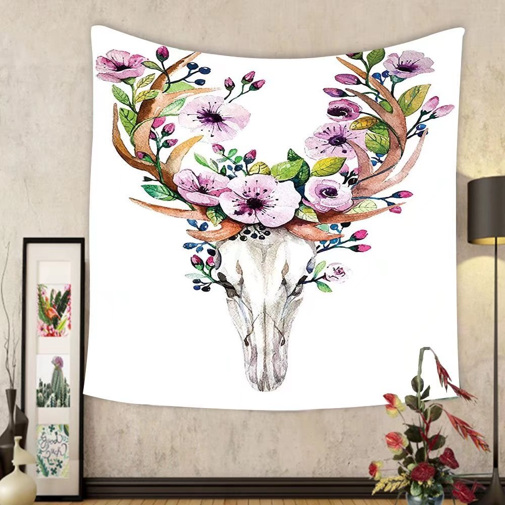 Gzhihine Custom tapestry Ambesonne Skulls Decorations Collection Deer Animal Skull with Floral Horns Nature Inspired Dead and Living Art Print Bedroom Living Room Dorm Tapestry Cream Pink Brown