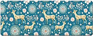 "QIYI Floor Comfort Mat 1 Piece Kitchen Rug PVC Leather Waterproof Oil Proof Runner Rug Non Skid Laundry Standing Mat Anti Fatigue Foam Cushioned Doormat, Easy to Clean 17"" W x 47"" L - Herd of Deer"
