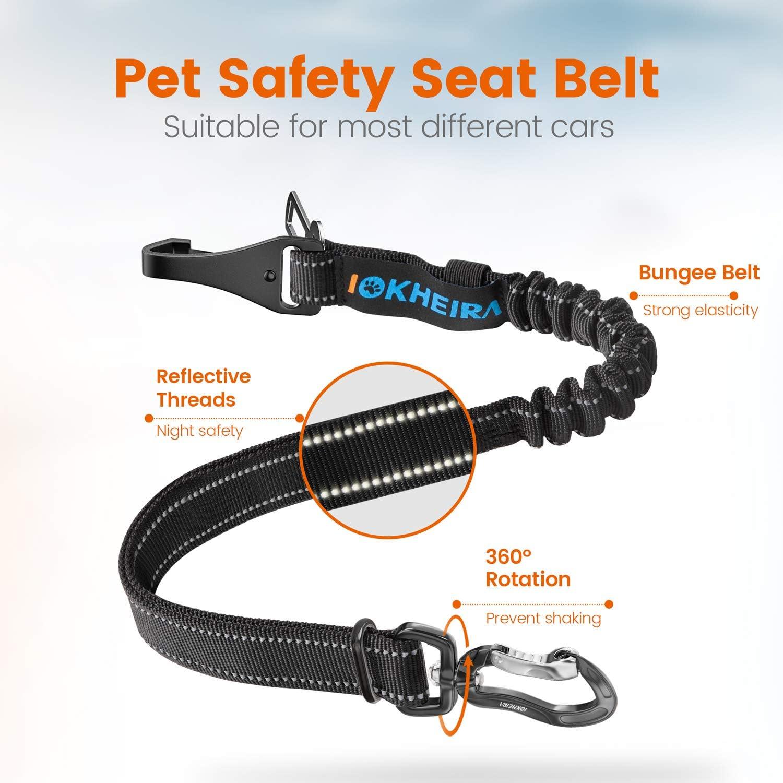 Iokheira Hunde Sicherheitsgurt 3-in-1 Verstellbar Hundesicherheitsgurt f/ür Auto,Reflektierender Bungee Hundegurt mit Hakenverschluss und Drehbarer Aluminium-Karabiner