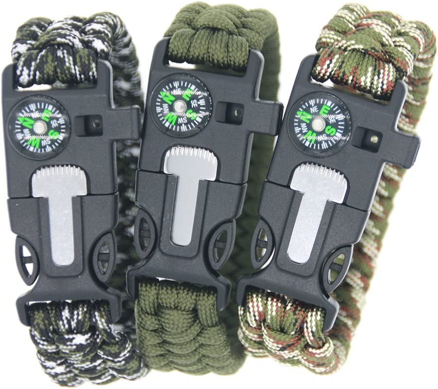 3 Bears Outdoor Survival Paracord Bracelet with Compass Fire Starter and Emergency Whistle(Pack of 3)
