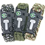 3Bears BoyScout Outdoor Survival Paracord Bracelet With Compass Fire Starter And Emergency Whistle(Pack of 3)