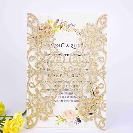 50 Pcs Light Gold Glitter Laser Cut Vintage Wedding Invitations Cards Covers Only No Envelope No Insert Light Gold Glitter Covers