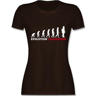 Feuerwehr - Evolution Feuerwehr - S - Braun - L191 - Damen T-Shirt Rundhals