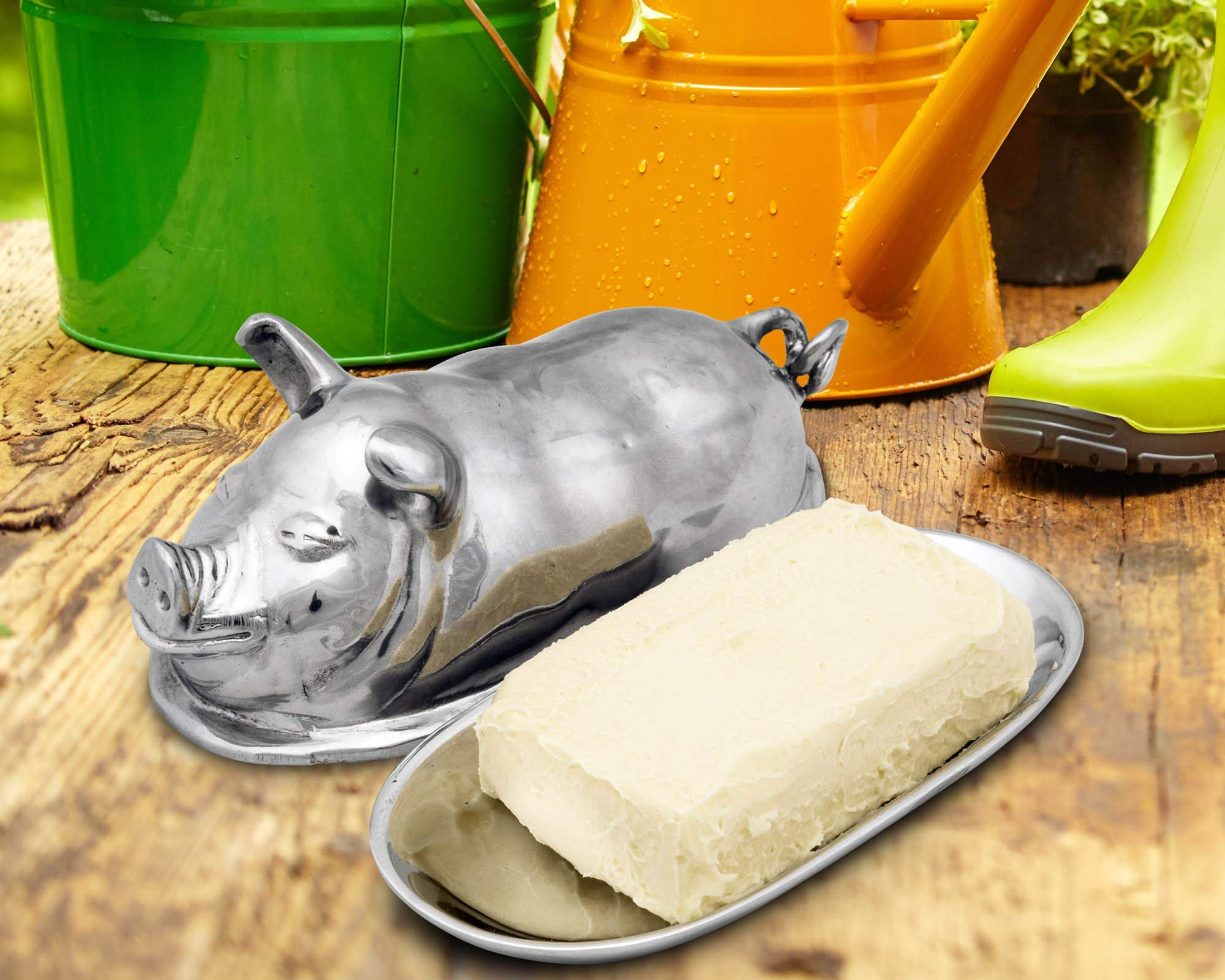 Arthur Court Happy Pig Butter Cream Cheese Dish 3.75'' Long x 7.5'' Wide x 3.5'' Tall by Arthur Court (Image #1)