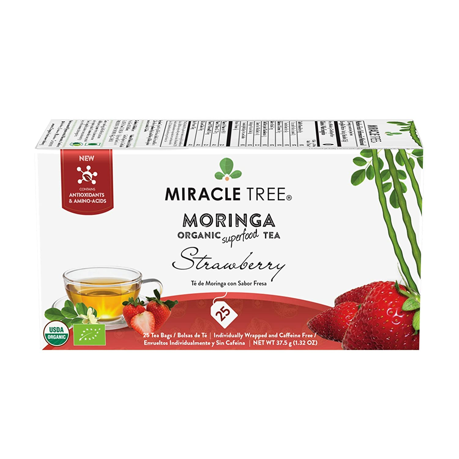 Miracle Tree - Organic Moringa Superfood Tea, 25 Individually Sealed Tea Bags, Strawberry