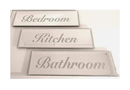 Fire Engine Mirror Set Personalised Door Name Plaque Boy Girls Bed Room Sign