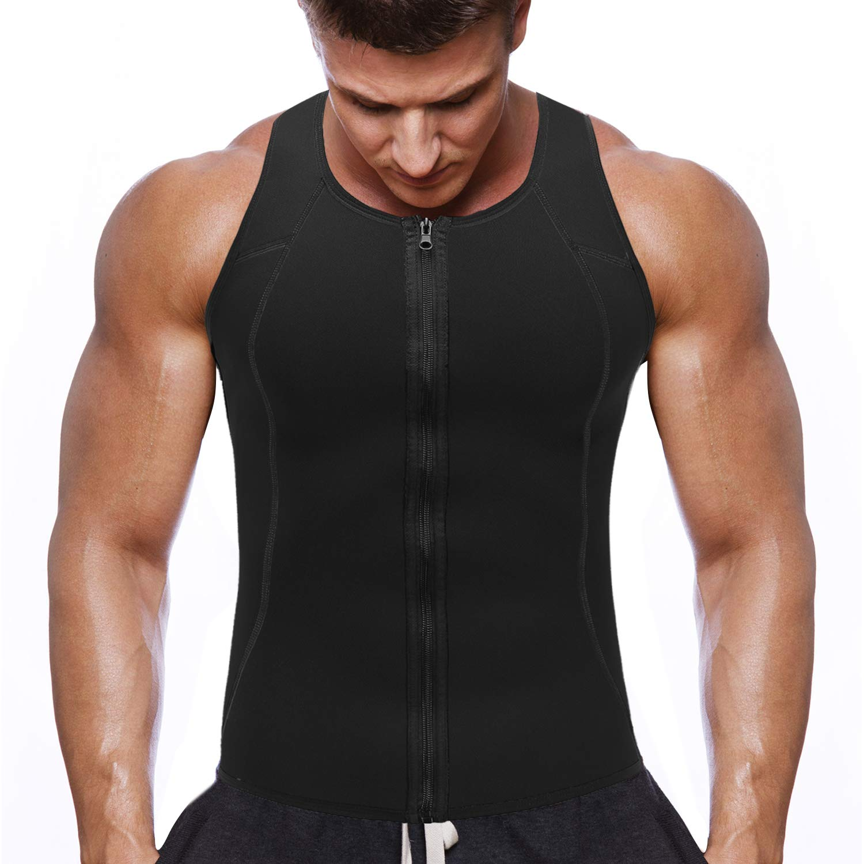 NOVECASA Chaleco Sauna con Cremallera Hombre Sauna Vest Zipper Compresion de Neopreno Modelador Camiseta Reductora para Adelgazante Sudoració n Musculació n