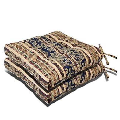 Magshion Made in USA Outdoor/Indoor Pretty Wicker Seat Cushion Set of 2 (Floral): Home & Kitchen