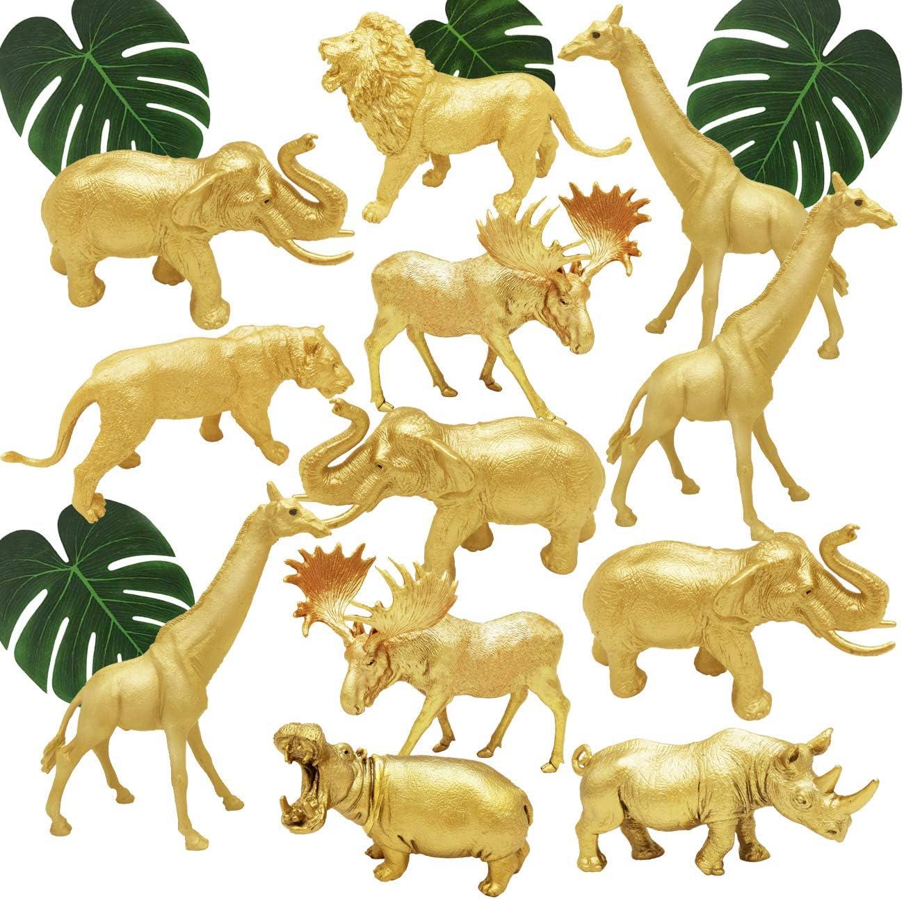 BOLZRA Metallic Gold Plastic Animal Figurines Toys, 12PCS Jumbo Safari Zoo Animal Figures, Jungle Wild Animals with Elephant, Lion, Giraffe for Baby Shower Decor, Safari Themed Birthday Party