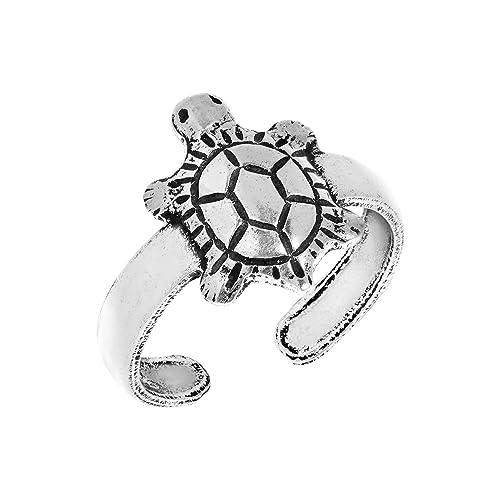 Amazon.com: Chubby bebé tortuga plata de ley 925 anillo para ...