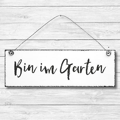 Bin Im Garten Dekoschild Türschild Wandschild Aus Holz 10x30cm