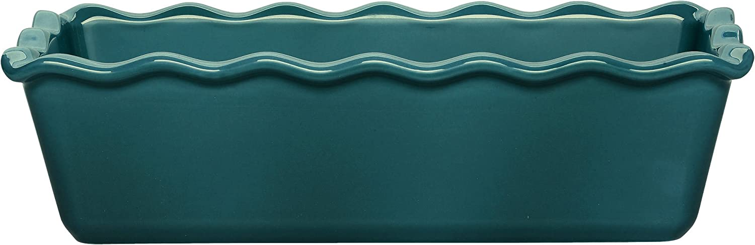"""Emile Henry Made In France Ruffled Loaf Pan, 9"""" by 5"""" by 3"""", Blue Flame"""
