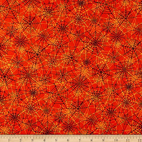 Marcus Brothers Grumpy Cat Halloween Spider Web Orange Fabric by The Yard -