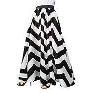 Afibi Women Chiffon Mopping Floor Length Big Hem Solid Beach High-Waist  Maxi Skirt 5545b6b89