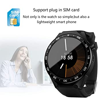 YUNDING Reloj Inteligente, Teléfono Portátil, Brazalete Digital Bluetooth, Sistema Operativo Android/Cámara HD/WiFi Internet/Frecuencia ...