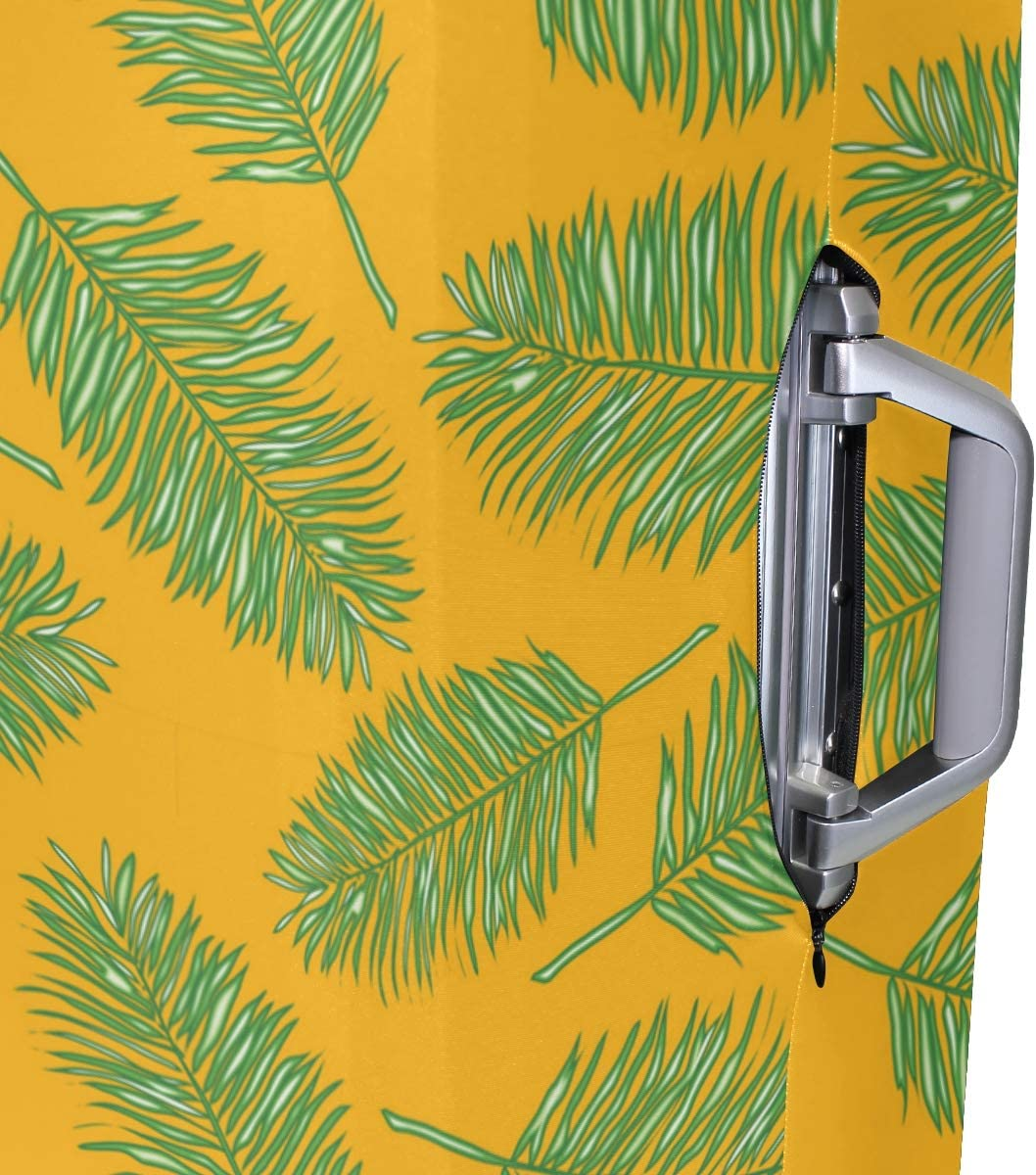 Bright Yellow Palm Leaves Travel Luggage Protector Case Suitcase Protector For Man/&Woman Fits 18-32 Inch Luggage