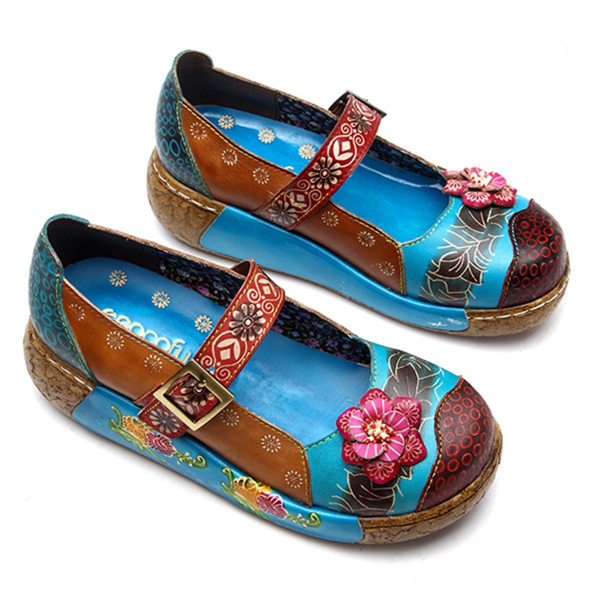 Socofy Damen Damen Damen Mary Jane Mokassins Pantoletten, Sommer Leder Loafer Vintage Blaume Slip-ons Sandalen Pantoffel Slipper Clogs High-Top Blaume Espadrilles Schuhe Hausschuhe  d3de64