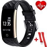 Smart Bracelet,Fitness Tracker with Replaceable Strap, Health Tracker, Activity Pedometer Wristband, Sleep Tracker, Smartwatch for iPhone and Android (For iPhone 7/7 Plus/6s/6/6 Plus/5/5S/SE, Huawei Mate 7/P9, LG, Sony etc.)