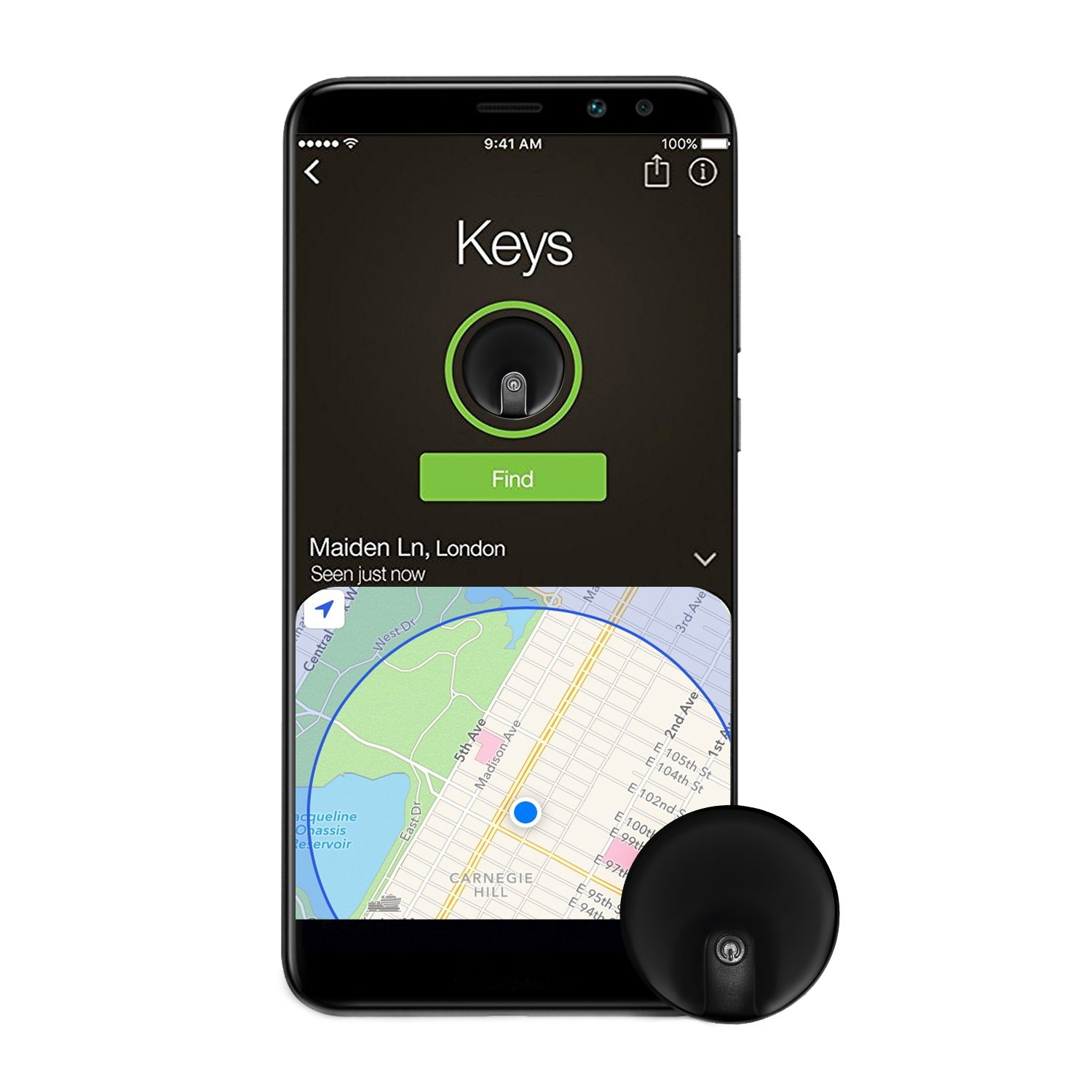 MTFY Key Finder,Wireless Phone Tracker Anti-Lose Alarm Sensor GPS Tracker  for iOS,Android Smartphone (Black)