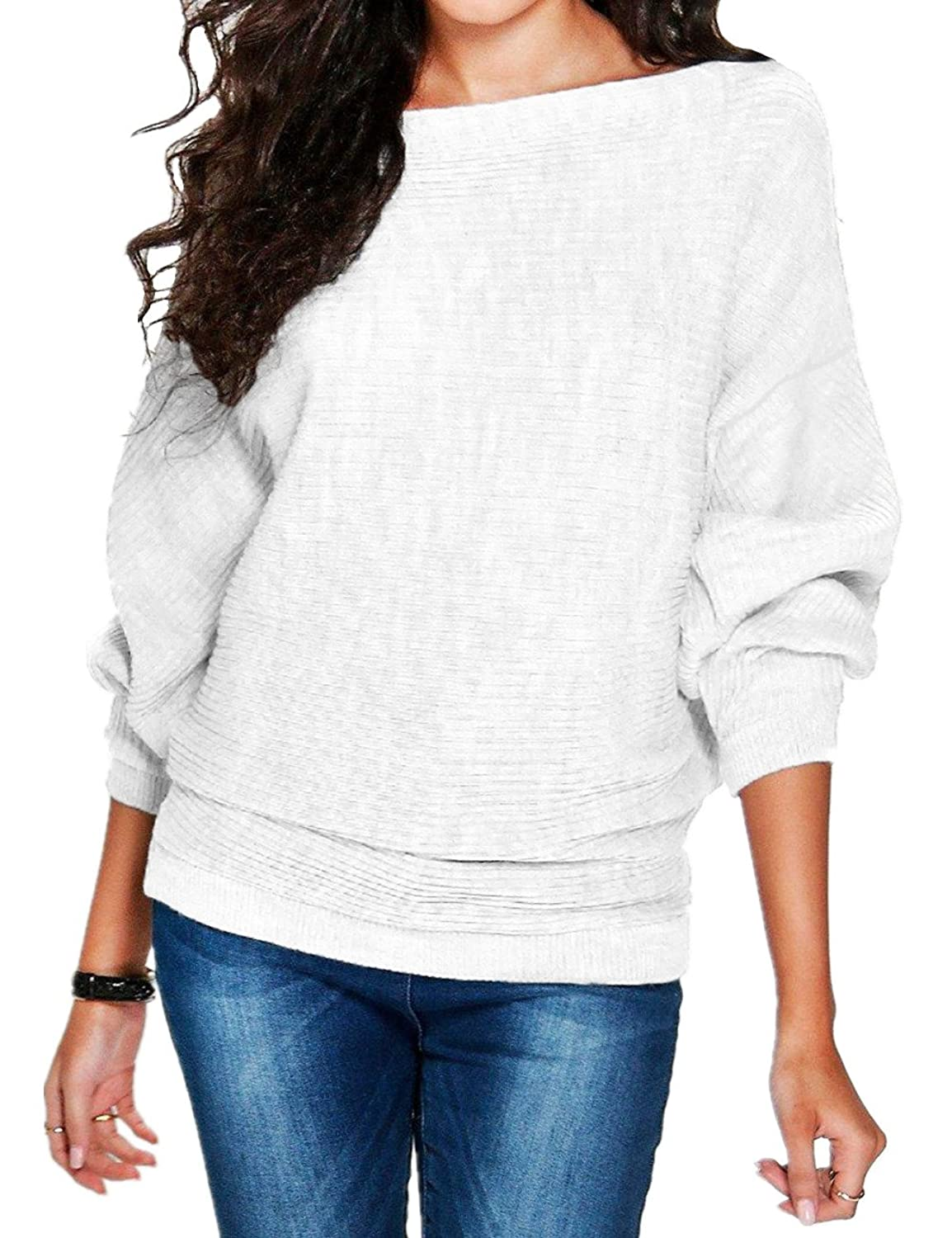 FANOVI Women's Plain Sexy Low Cut V Neck Rib Knitted Casual Loose Jumper Sweater