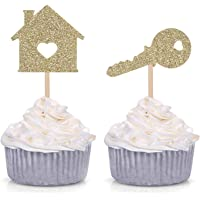 24 Home Sweet Home Cupcake Toppers New House Housewarming Party Decorations (Gold)