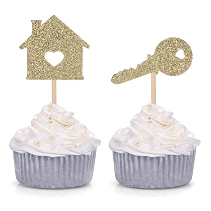 Amazon 24 Home Sweet Cupcake Toppers New House Housewarming Party Decorations Gold Toys Games