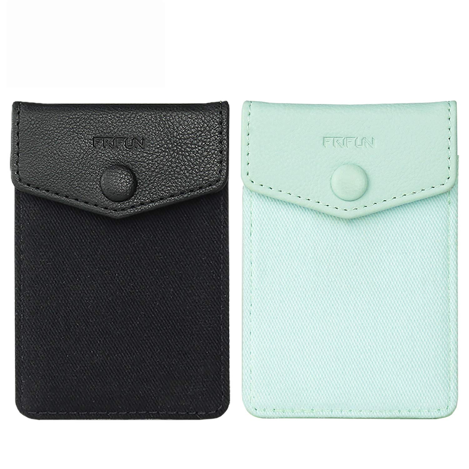 FRIFUN Cell Phone Wallet Ultra-Slim Self Adhesive Credit Card Holder Stick on Wallet Cell Phone Leather Wallet for Smartphones Covers Credit Cards and Cash (Black + Mint) 2 Packs by FRIFUN