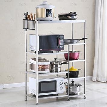 Estanterías de cocina WSSF Multi-Capas de Cocina de Acero Inoxidable Bastidores de Almacenamiento Piso del Horno microondas Cocina de la estantería estantes ...