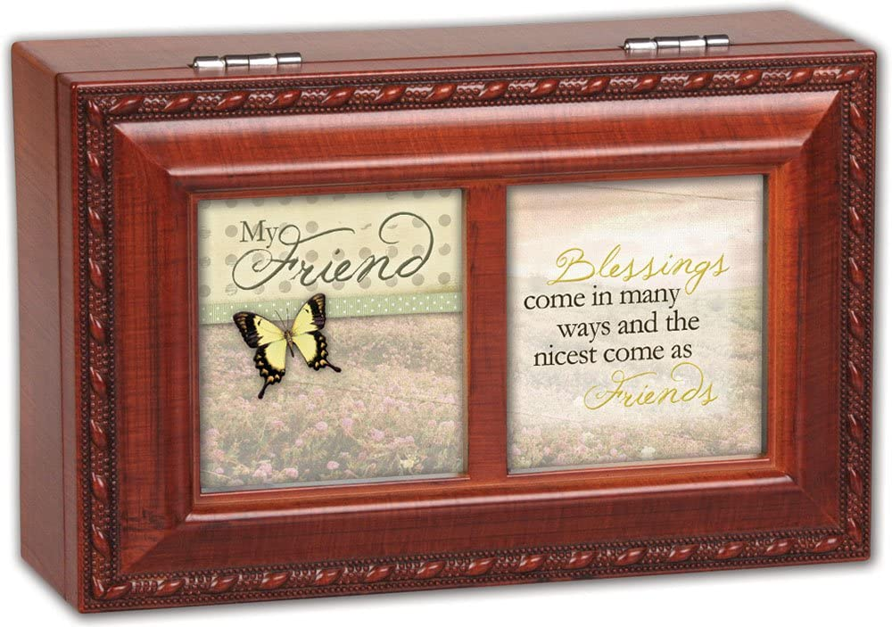 Cottage Garden Old Friends Friendship Faux Woodgrain Music Jewelry Box Plays Thats What Friends Are For
